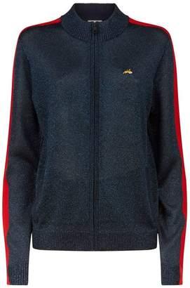 Bella Freud Sheer Lurex Zip-Up Sweater