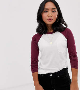 Brave Soul Petite raglan t-shirt with contrast sleeves