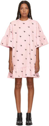 McQ Pink Mini Swallow Ruffled T-Shirt Dress