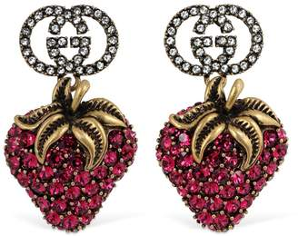 Gucci Gg Big Red Strawberry Crystal Earrings