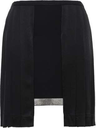 Versace Layered Pleated Chainmail-embellished Crepe Mini Skirt