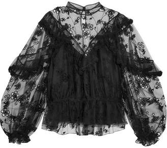 Chloé Ruffled Embroidered Tulle Blouse - Black