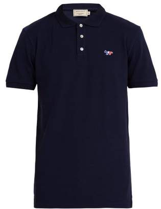 MAISON KITSUNÉ Logo Applique Cotton Pique Polo Shirt - Mens - Navy