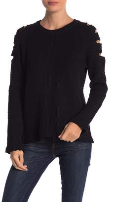 Elan International Cutout Sleeve Knit Sweater