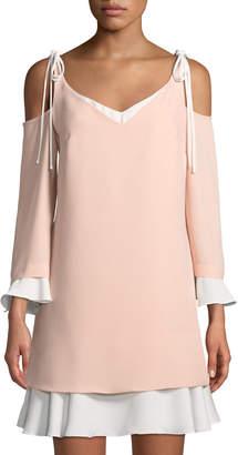 Nanette Lepore Nanette Cold-Shoulder Layered Shift Dress