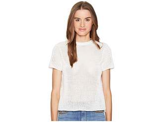 RED Valentino Cotton Yarn Mesh Stitching Lace Top Women's Short Sleeve Pullover