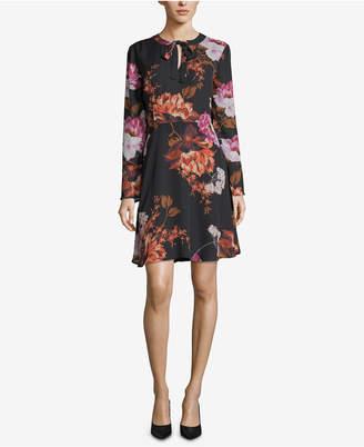 ECI Floral-Print Tie-Neck Dress