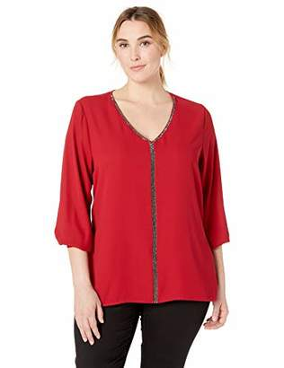 Karen Kane Women's Plus Size Sparkle Long Sleeve TOP