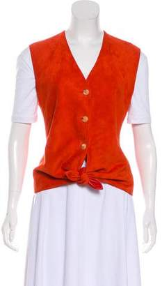 Hermes Suede Button-Up Vest
