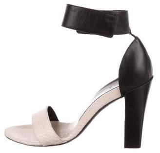 Chloé Snakeskin-Trimmed Leather Sandals