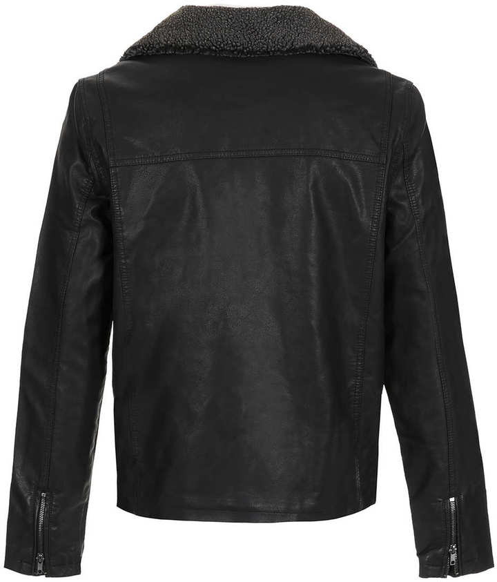 Topman Black Borg Collar Leather Look Biker Jacket
