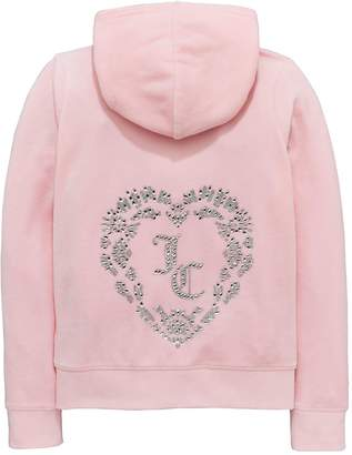 Juicy Couture Girls Velour Encrusted Heart Jacket