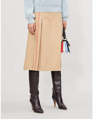 Sportmax Pleated cotton-blend midi wrap-skirt