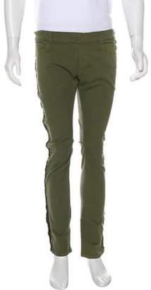 Balmain Metallic Frayed Skinny Jeans green Metallic Frayed Skinny Jeans