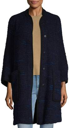 Armani Collezioni Women's Split Crewneck Wool Coat