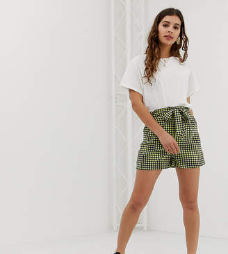 Glamorous relaxed shorts with paper bag waist in gingham