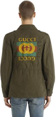 Gucci Logo Printed Washed Cotton Field Jacket
