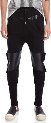 Kolonko Faux Leather & Terry Loop Joggers