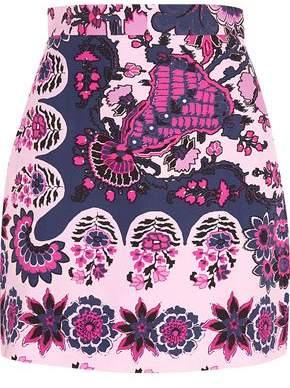 MSGM Floral-Print Crepe Mini Skirt