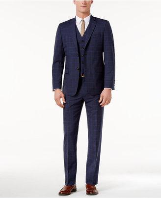 Lauren Ralph Lauren Men's Total Stretch Blue Bold Windowpane Pure Wool Slim-Fit Vested Suit $695 thestylecure.com
