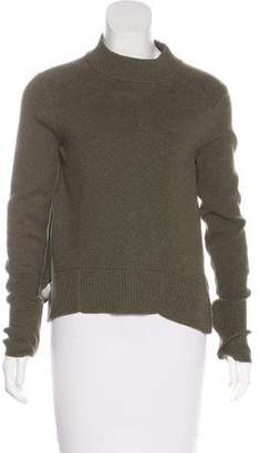 Veronica Beard Silk-Paneled Long Sleeve Sweater