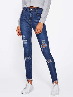 Romwe Frayed Hem Ripped Jeans