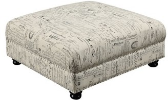 Picket House Furnishings Twine French Script Upholstered Coffee Table Ottoman