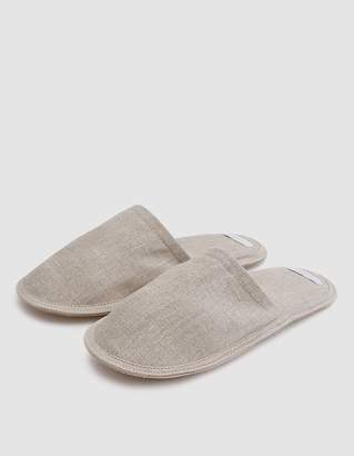 Fog Linen Linen Slippers in Natural - Large