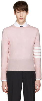 Thom Browne Pink Classic Crewneck Short Pullover $1,500 thestylecure.com