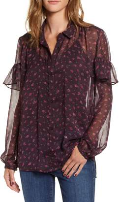 French Connection Floral Ruffle Top