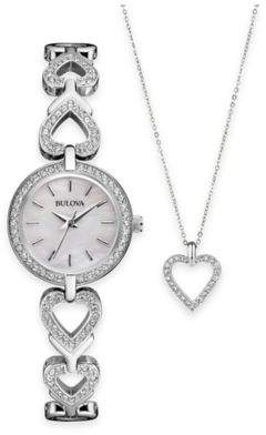 Bulova Ladies' 22mm Crystal-Accented Watch in Stainless Steel and Crystal Heart Pendant Necklace Set $198.75 thestylecure.com
