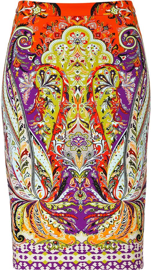 Etro Stretch Cotton Paisley Print Pencil Skirt