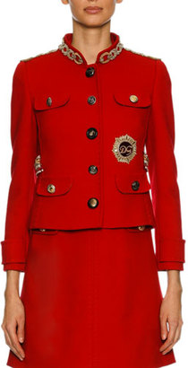 Dolce & Gabbana Chain-Embellished Wool Jacket, Red $5,395 thestylecure.com