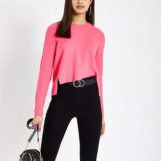 River Island Bright pink knitted crop jumper