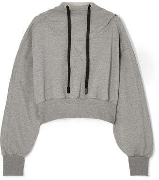 NO KA 'OI NO KA'OI - Ma Aku Cropped Cotton-blend Jersey Hoodie - Gray