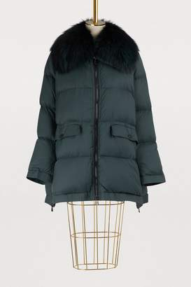 Yves Salomon Army Fur-lined cropped puffer jacket