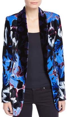 Diane von Furstenberg Tommy Velvet Floral Single-Button Blazer