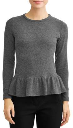 Lucca Couture Women's Kathryn Long Sleeve Peplum Hacci Top