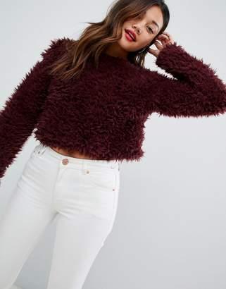 New Look fluffy jumper in dark red