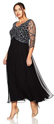 J Kara Women's Plus Size 3/4 Sleeve Geo Beaded Gown