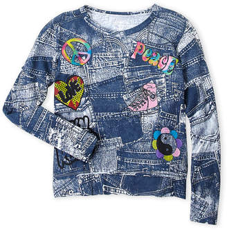 Flowers by Zoe Girls 7-16) Denim Patch Top