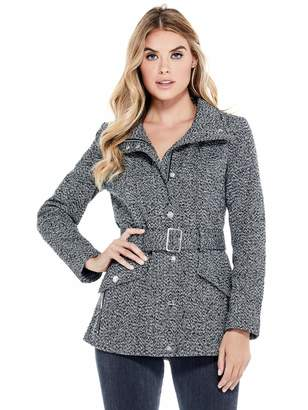 Factory Guess Women's Karlee Belted Tweed Coat
