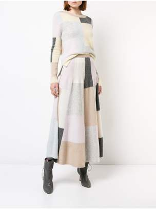 ADAM by Adam Lippes Brushed Cashmere Patchwork Circle Skirt