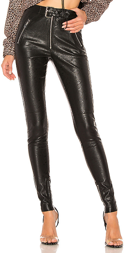 DANIELLE GUIZIO Belted Leather Pants