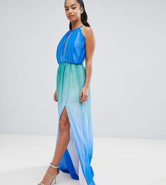 John Zack Petite Plunge Front Maxi With High Thigh Split