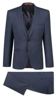HUGO Boss Extra-slim-fit three-piece suit in herringbone stretch wool 34R Dark Blue