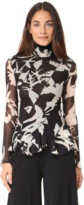 Fuzzi Long Sleeve Mock Neck Blouse $375 thestylecure.com