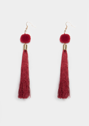 Missy Empire Missyempire Grace Wine Pom Pom Tassel Earrings