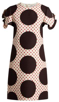 Valentino Polka Dot Wool Silk Crepe Dress - Womens - White Multi