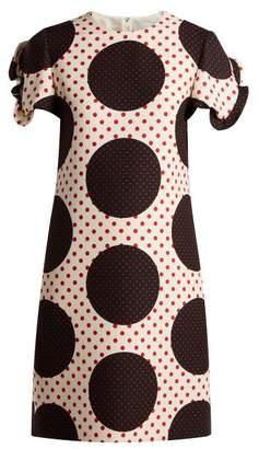 Valentino Polka Dot Wool Silk Crepe Dress - Womens - White Multi